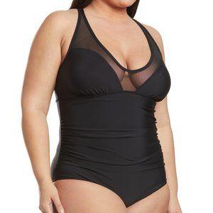 Speedo  V-Neck Mesh 1 Piece Swimsuit Black Plus 20